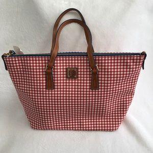 Dooney & Bourke Sena Red Gingham Zip Top Shopper